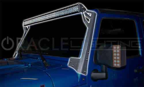 Supports de pare-brise + Barre LED pour Jeep JK